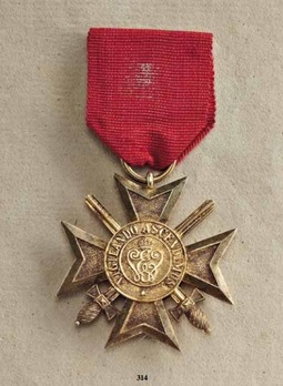 Order of the White Falcon, Type II, Military Division, Gold Merit Cross (in silver gilt, 1902-1918)