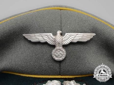 German Army Post-1936 Signals NCO/EM's Visor Cap Eagle Detail
