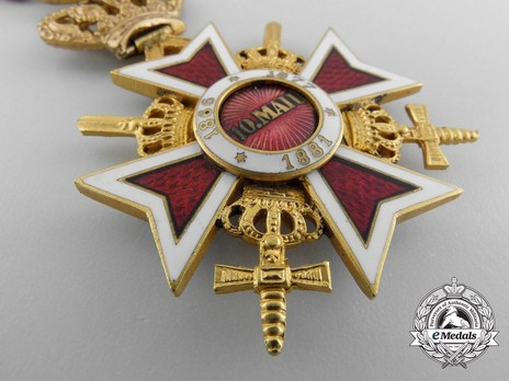 Order of the Romanian Crown, Type II, Military Division, Officer's Cross Reverse