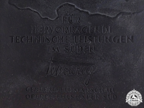 Honour Plaque of Commander-in-Chief South (in black) Obverse