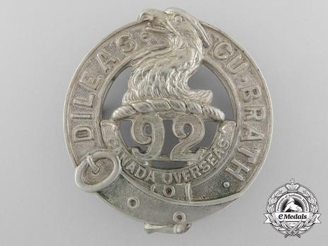 92nd Infantry Battalion Other Ranks Glengarry Badge Obverse