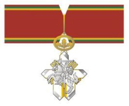 Order for Merits to Lithuania, Commander's Cross (for Men, for Humanitarian Aid) Obverse