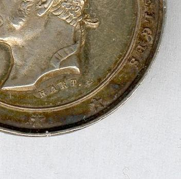"""Silver Medal (with mural crown, stamped """"HART F.,"""" 1849-1865) Obverse Detail"""