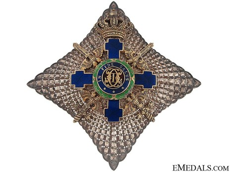 The Order of the Star of Romania, Type II, Military Division, I Class Cross Breast Star Obverse