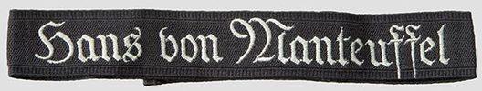 """SA """"Hans von Manteuffel"""" Honour Cuff Title Obverse"""