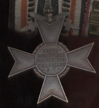 War Cross (Ehrenbund German World War I) Reverse