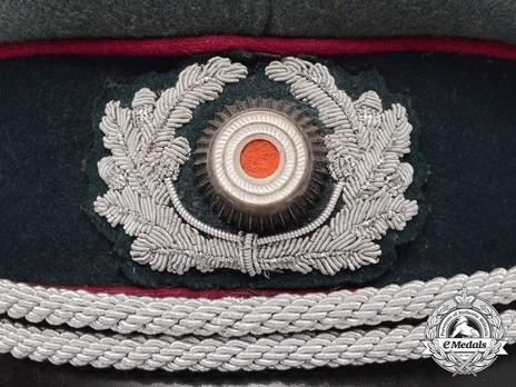 German Army Smoke & Chemical Officer's Visor Cap Wreath & Cockade Detail