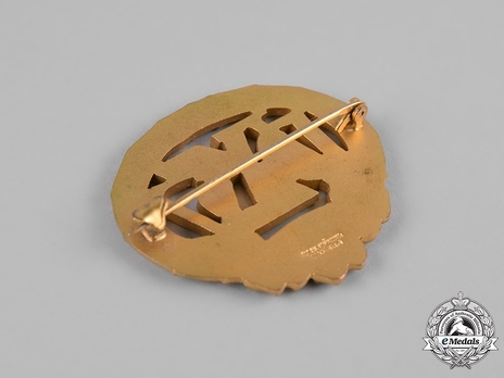 German Heavy Athletics Sports Badge, in Gold Reverse