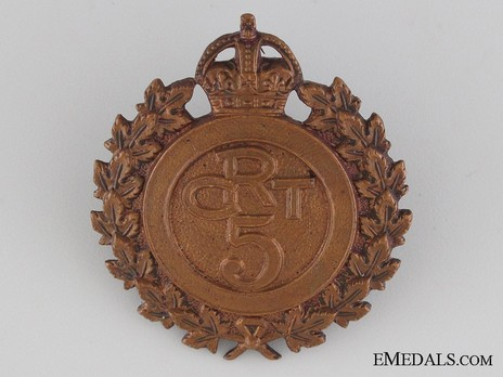 5th Battalion Railway Troops Other Ranks Cap Badge (with Wreath) Obverse