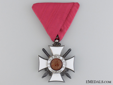 Order of St. Alexander, Type I, V Class Knight (with swords) Obverse