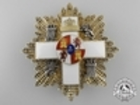 3rd Class Breast Star (white distinction) (with coat of arms of Castile and Leon, and Royal Crown) Obverse