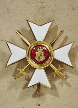 Princely Honour Cross, Military Division, Officer's Cross (with swords, in gold)
