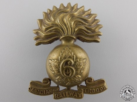 6th Battalion Railway Troops Other Ranks Cap Badge (with Grenade) Obverse