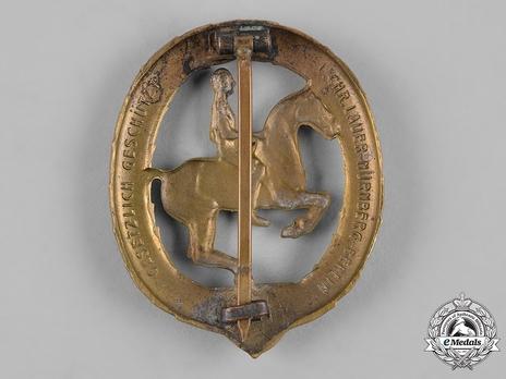 German Horseman's Badge, in Gold (in tombac) Reverse