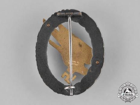 Luftwaffe Paratrooper Badge, by W. Deumer Reverse