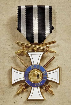 Order of the Crown, Military Division, Type II, III Class Cross (with swords and swords on ring, in gold)