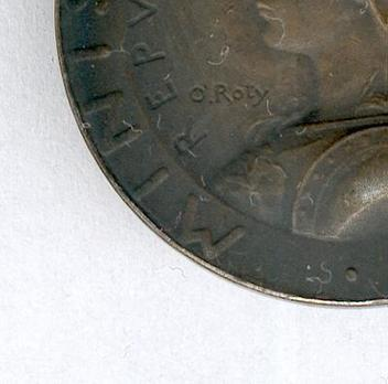"""Silver Medal (stamped """"O.ROTY,"""" 1896-) Obverse Detail"""