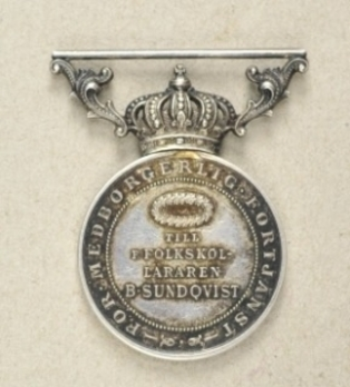 8th Size Silver Medal On Ribbon Reverse