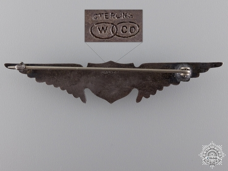 "Pilot Wings (with sterling silver) (by William Link, stamped ""W CO"") Reverse"