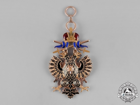 Order of the White Eagle, Type II, Military Division, Badge (in gold, with swords) Reverse