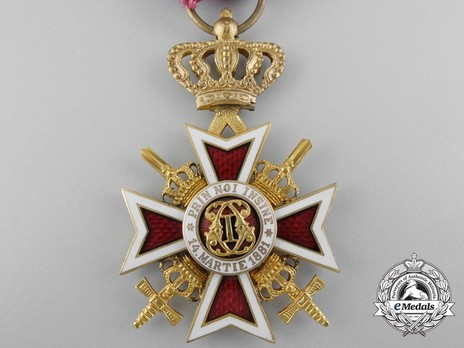 Order of the Romanian Crown, Type II, Military Division, Officer's Cross Obverse