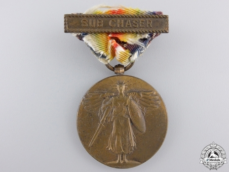 """World War I Victory Medal (with Navy """"SUB CHASER"""" clasp) Obverse"""
