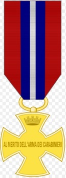 Cross of Merit of the Carabinieri, in Gold Reverse
