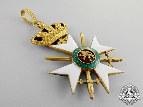 Military Order for Bravery, I Class Grand Officer Officer (letters on green background) Obverse