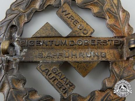 SA Sports Badge, Type III, in Bronze Reverse Detail