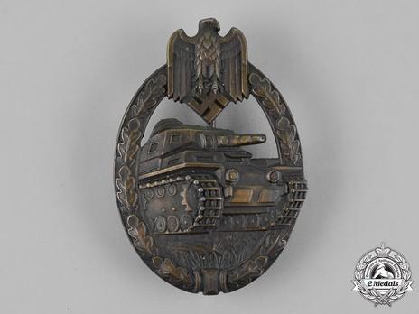 Panzer Assault Badge, in Bronze, by Unknown Maker: So-Called Juncker Obverse