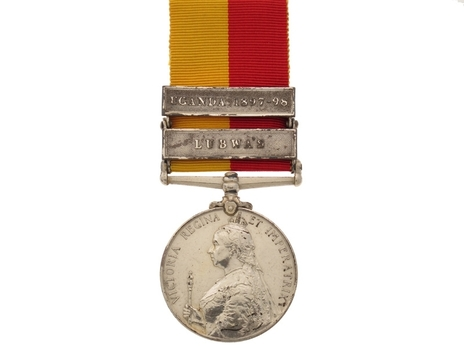"""Silver Medal (with """"LUBWA'S"""" and """"UGANDA 1897-98"""" clasps) Obverse"""