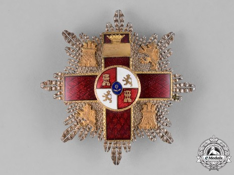 2nd Class Breast Star (red distincion) (with coat of arms of Castile and Leon, and Imperial Crown) (Silver and Silver gilt) Obverse