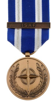 """Bronze Medal (for Afghanistan, with """"ISAF"""" clasp)  Obverse"""
