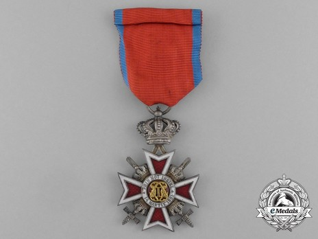 Order of the Romanian Crown, Type II, Military Division, Knight's Cross Obverse