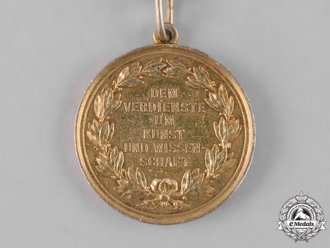 """Medal for Art and Science, Type I, in Gold (in silver gilt, stamped """"HELFRICHT F."""") Reverse"""