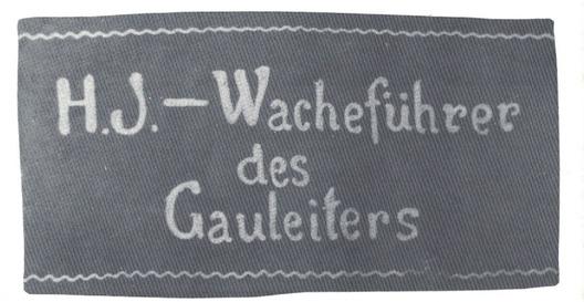 HJ Guard Detachment of the Gau Leader Armband (Leader version) Obverse