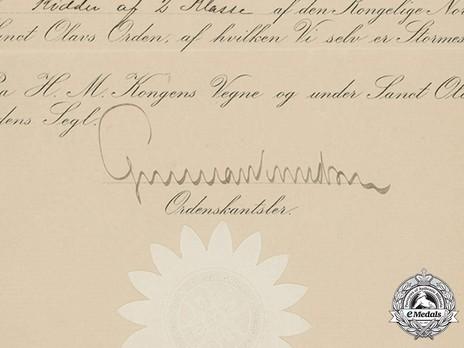 Order of St. Olav, Knight I Class DOCUMENT 1961U, Civil Division Detail