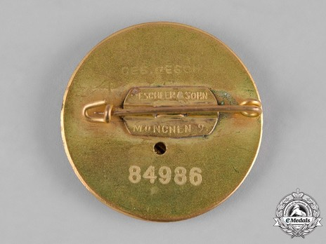 NSDAP Golden Party Badge, Large Version (by Deschler) Reverse