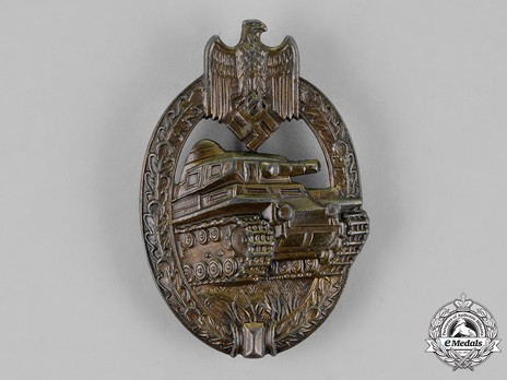 Panzer Assault Badge, in Bronze, by Unknown Maker: AS in Triangle Obverse