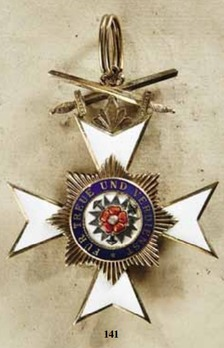 Princely House Order of Schaumburg-Lippe, II Class Cross with Swords (on ring)