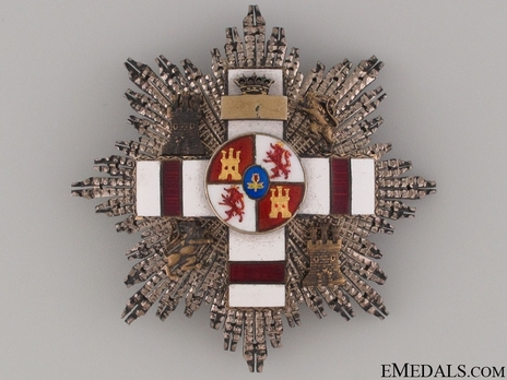 2nd Class Breast Star (white distinction pension) (with coat of arms of Castile and Leon, and Imperial Crown) (Silver gilt) Obverse