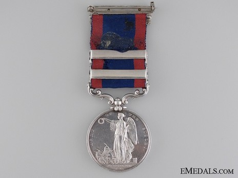 Silver Medal (for the Battle of Moodkee, with 2 clasps) Reverse