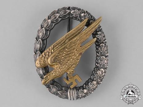 Luftwaffe Paratrooper Badge, by C. E. Juncker (in brass & nickel silver) Obverse