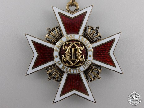 Order of the Romanian Crown, Type II, Civil Division, Commander's Cross Obverse