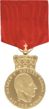 H.M. The Kings Commemorative Medal, I Class (with crown Harald V) Obverse