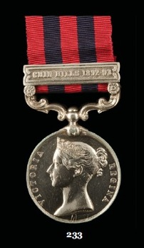 """India General Service Medal (1854) (with """"CHIN HILLS 1892-93"""" clasp)"""