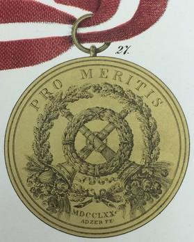 Medal Pro Meritis, Type I, in Gold Reverse