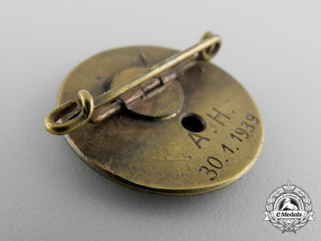 NSDAP Golden Party Badge, with Date of Issue (small) Reverse
