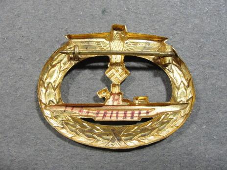 Submarine War Badge, by W. Deumer Reverse