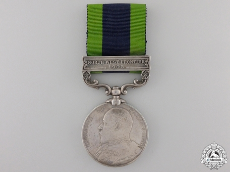 "Silver Medal (with ""NORTH WEST FRONTIER 1908"" clasp) Obverse"